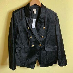 Chico's NWT Size 3 Black Velvet Blazer
